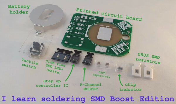 I learn soldering SMD boost edition kit